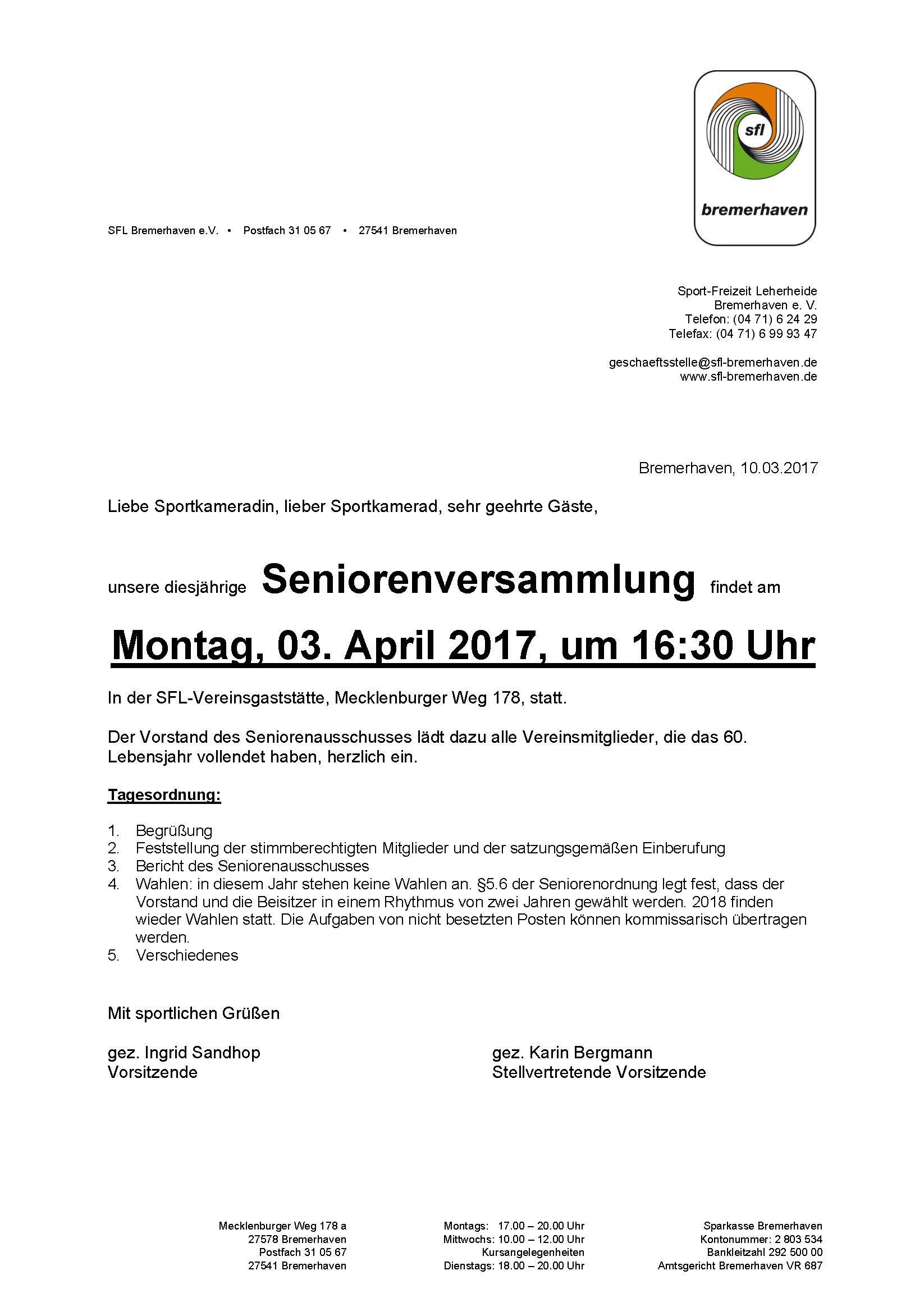 seniorenausschuss: einladung zur mitgliederversammlung 3. april, Einladung